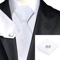 Special Offer Men`s Tie White Paisley Silk Tie Hanky Cufflinks Sets For Wedding Party Business