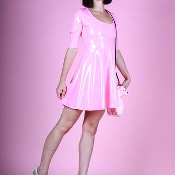Bubblegum Pink Stretch Vinyl Skater Dress Wet Look Baby Doll Flare Mini Spandex Violet PVC
