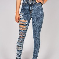 Ripped Off High Waist Skinnys | Jeans at Pink Ice