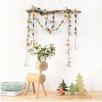 Spring Ornaments Flower Rope Window Shop Decoration Room Ceiling Ornaments Curtains Tied Rope Wall Hangings