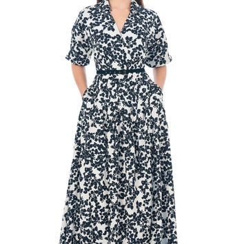 Floral print crepe surplice belted maxi dress