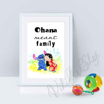 Lilo and Stitch Quote Poster Print, Ohana Means Family, Family Quote Print, Nursery Decor, Kids room Decor