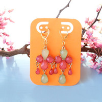 pink and green flower spring drop dangle earrings, gold tear drop dangle earrings, chandelier earrings, pink accessories