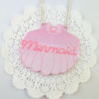 Pastel Pink and Hot Pink Clam Shell Laser Cut Mermaid Necklace