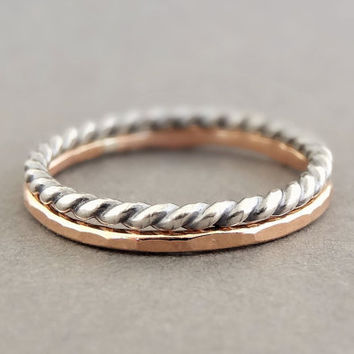 Rose Gold Ring and Oxidized Silver Twist ring set of 2 contrasting stackable thumb rings