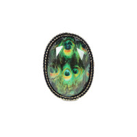 Vintage Peacock Oval Ring