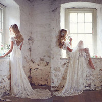 Lace Ivory White Bridal Gown Wedding Dress Custom Size 4 6 8 10 12 14 16 18 20
