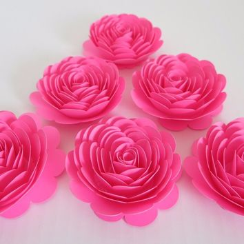 "Neon Pink Paper Flowers, 3"" Roses, Set of 6, Girl Baby Shower Decorations, Wedding Table Decorating Ideas, Bridal Shower Decor, Baby Nursery"