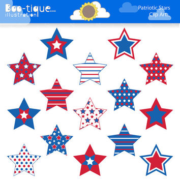 Stars Digital Clipart for Instant Download. July 4th Stars Clip Art. Independence Day Clipart. Red, White and Blue Stars Clip Art. Stars
