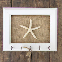 Key Holder - Key Hook Necklace Holder Beach Decor Starfish 5 Silver Hooks - House warming gift