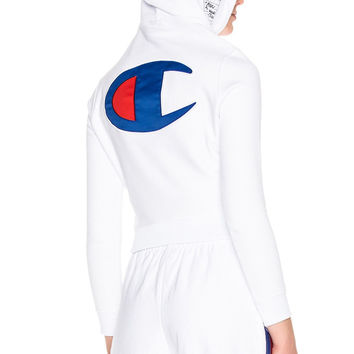 White Hooded Body Suit by Champion x Vetements