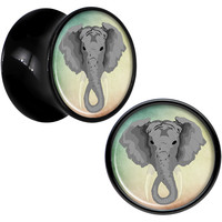 Black Acrylic Eager Ear Vivid Elephant Saddle Plug Set