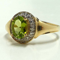Vintage 10K Gold, Peridot & Diamond Ring -  August Birthstone