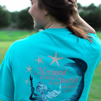 Southern Darlin Mermaid Kisses & Starfish Wishes Bow Bright Girlie T-Shirt