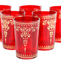 Yasmina Moroccan Glasses, Red, Set of 6, Tumblers, Water & Juice