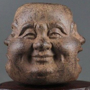 Beautiful wood hand carved Buddha face statue of pleasure anger sorrow joy