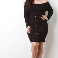 Ribbed Knit Button-Up Bardot Bodycon Dress