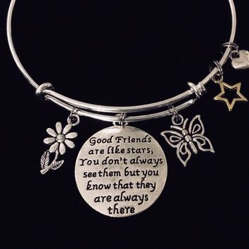 Good Friends Are Like Stars Always There Expandable Charm Bracelet Adjustable Silver Bangle Trendy One Size Fits All Gift BFF Jewelry