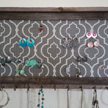 Gray quatrefoil decor, earring holder,  hanging jewelry holder, barnwood frame