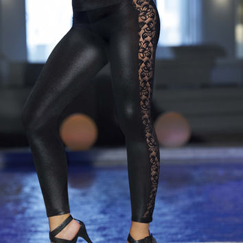 Black Wetlook Legging With Lace Insets