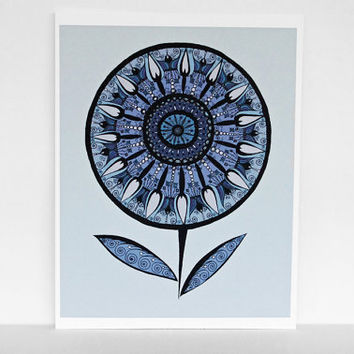 Blue Mandala Flower Print in Steel Blue, Gray, Teal, Navy Blue and Sky Blue - 8x10 Print Abstract Botanical Flower Print with Swirls