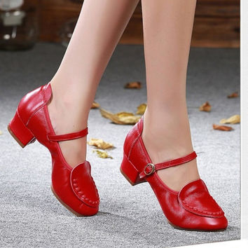 New Ladies Social Square Dancing Shoes Genuine Leather Stretch Jazz Shoes Woman Soft Bottom Dance Shoes Breathable Sport Shoes