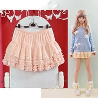 3 Color Black,Pink,Yellow Women Skirts Girls Summer/Autumn Ruffle Lace skirts Lolita Japanese Cute skirts Female Dobby Skirts SK