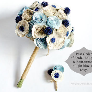 Bridal Bouquet with Roses, Poppies, Sweetgum made from Books - IN YOUR COLORS - Choose from Jane Austen, Harry Potter, Game of Thrones
