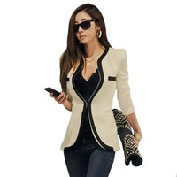 Zacoo Women's Collarless Cotton Blended Blazer