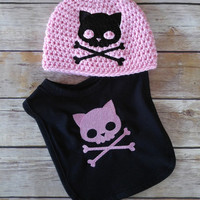 Kitty Skull Baby Gift Set - Baby Shower Gift - New Baby Gift - Baby Girl Clothes - Baby Clothes - Baby Girl Gift - Bib - Baby Hat