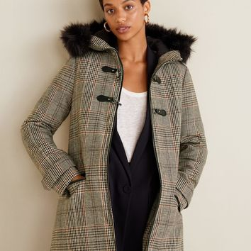 Faux fur hooded coat - Women | MANGO United Kingdom