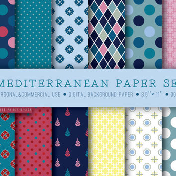 Mediterranean paper, multicolor paper, paper set, mediterranean, background paper, digital sheets, printable paper, blue coral yellow flaxen