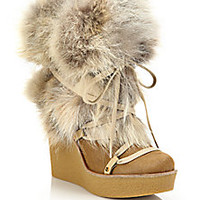Chloé - Fur Lace-Up Wedge Platform Boots - Saks Fifth Avenue Mobile