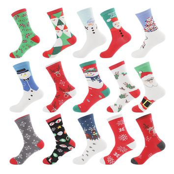 Deruilady New Winter Socks Cotton Harajuku Cute Printing Men Women Christmas Socks Vintage Casual Breathable Warm Funny Socks