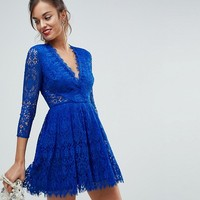 ASOS Long Sleeve Lace Mini Prom Dress at asos.com