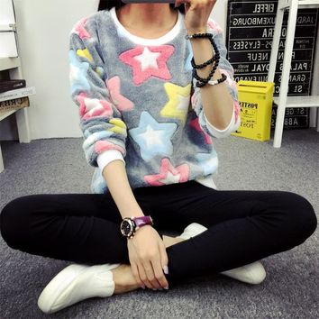 Flannel Winter Women Pullovers Shirts High Quality O-neck Printed Colored Stars Thick Warm Hoodies Shirts for Girls