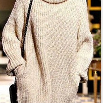 Turtle neck loose long-sleeved sweater dress smock