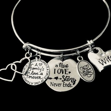Wife Jewelry A True Love Story Never Ends Adjustable Charm Bracelet Expandable Silver Bangle One Size Fits All Gift A Family's Love is Forever I Love You Double Hearts