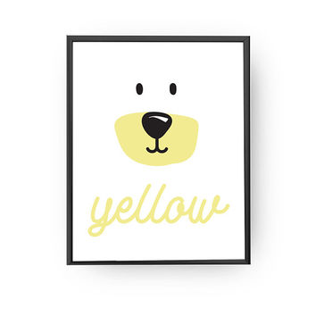 Yellow Bear, Children's Learning, Nursery Art, Education Poster, Bear Art, Typography Poster, Cute Animal Print, Kids Print, Learning Colors