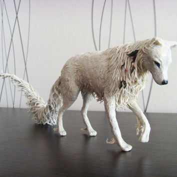 White wolf statue - original handmade OOAK fantasy animal sculpture figure figurine creature totem surreal