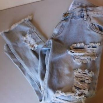 One Teaspoon Lonely Boys Destroyed Boyfriend Jeans Size 24 Brand New