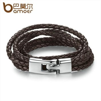 Trendy Leather Bracelet Braided Rope Chain with Magnetic Clasp Brown Bracelets for Men & Women Jewelry PI0288-2