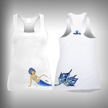 Blue Hair Mermaid - Womens Tank Top