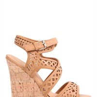 Platform Heel with Cork Wedge and Cutout Bands and Ankle Strap