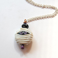 Mummy Necklace, Halloween Necklace, Spooky Necklace, Lampwork Glass Bead Necklace, Whimsical Necklace, Long Necklace
