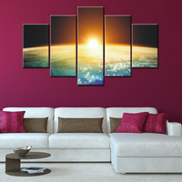 5 Pieces Modern Wall Art Canvas Printed Painting Decorative Sunset Picture for Home Decor Art Canvas