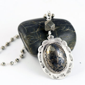 Pyrite Scallop Statement Necklace ON SALE