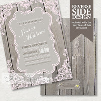 Rustic Wedding Invitation / Rustic Invitation / Wood and Lace - PRINTABLE INVITATION DESIGN
