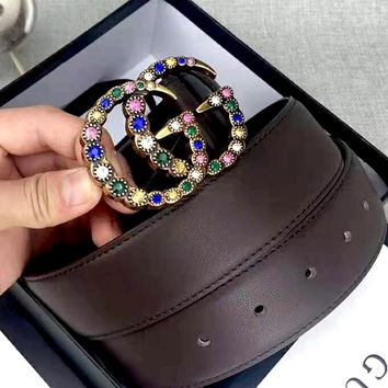 GUCCI new diamond-studded double G buckle belt