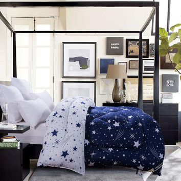 1-pieces Blue White Stars Prints  Comforter QUILT